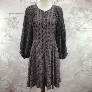 Maeve Anthro Puff Long Sleeve Blue Dotted Dress S